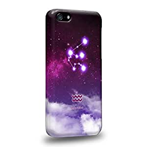 Case88 Premium DesignsThe 12 Zodiacal Constellations 3D Space Purple Aquarius zodiacal signs Protective Snap-on Hard Back Case Cover for Apple iPhone 5c
