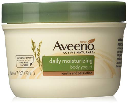 Aveeno Daily Moisturizing Yogurt Body Lotion for Dry Skin with Vanilla Scent & Soothing Oat, 7 oz (Pack of 2)