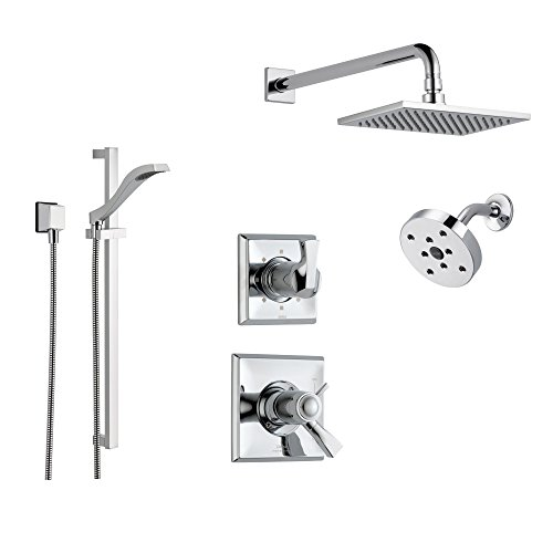 Delta Dryden Chrome Shower System with Thermostatic Shower Handle, 6-setting Diverter, Large Square Rain Shower Head, Modern Round Showerhead, and Hand Shower Spray SS17T5193 Delta Faucets