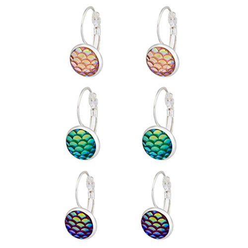 Trio Mermaid Dragon Fish Scale Silver Tone Lever Back Earrings Mixed Iridescent Blue Green Best Friends Green Fish Earring