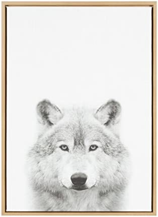 Kate and Laurel Sylvie Wolf Animal Print Black and White Portrait Framed Canvas Wall Art