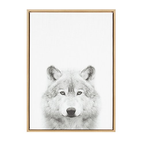Kate and Laurel Sylvie Wolf Animal Print Black and White Portrait Framed Canvas Wall Art by Simon Te Tai, 23x33 Natural ()