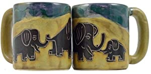 One (1) MARA STONEWARE COLLECTION - 16 Ounce Coffee Cup Collectible Mug - Elephant Design