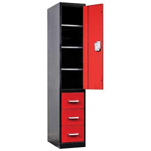 Fort Knox Locker Cabinet Single Half Ht Door & 3 Drawers, 18x24x78, Black & Red
