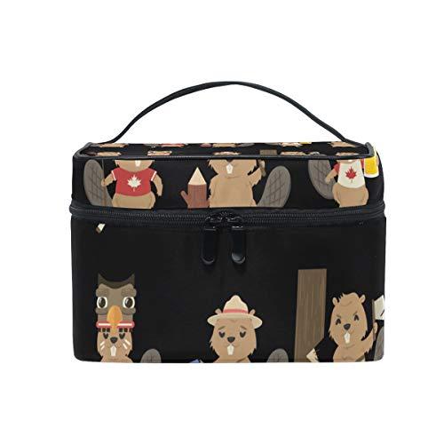 Makeup Organizer Set Of Beavers Womens Zip Toiletry Bag Large Case Cosmetic Bags