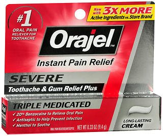 Orajel Severe Triple Medicated Instant Pain Relief 0.33oz Crm (2 Pack)