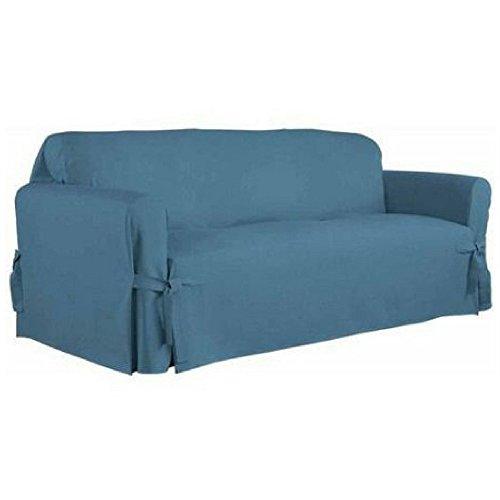 Serta Relaxed Fit Duck Furniture Slipcover, Sofa 1-Piece Box Cushion (Indigo)