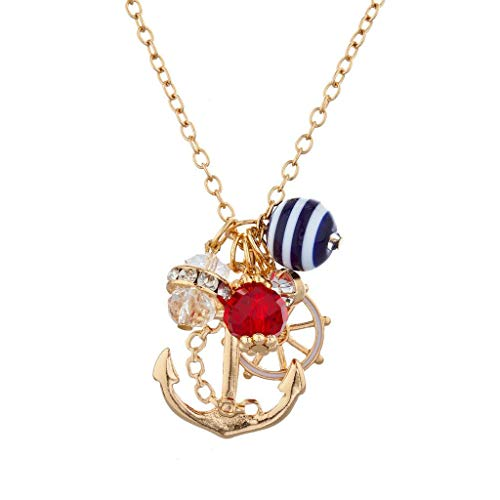(Lux Accessories Gold Tone Sailor Nautical Cluster Anchor Ship Wheel Charm Necklace)