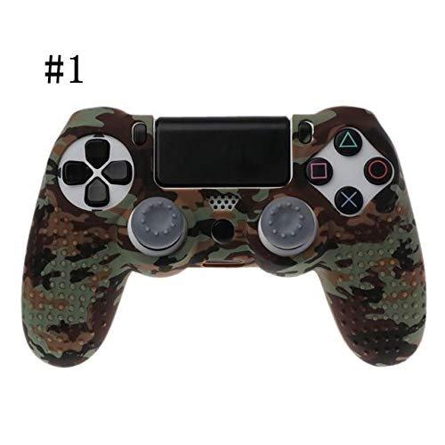 (2PCs Dualshock PS4 DS4 Slim Pro Controller Silicone Case Protective Skin + Thumb Stick Caps Play Station 4 Oct30 Color 1 PS4 Controller Covers - Silicone Skin, Silicone Cover A513)