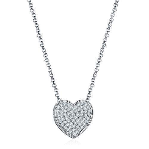- MILATU Heart Charm Necklace 3A Cubic Zirconia Paved, Platinum-Plated Chain Necklace,Jewelry Gift for Women Girls
