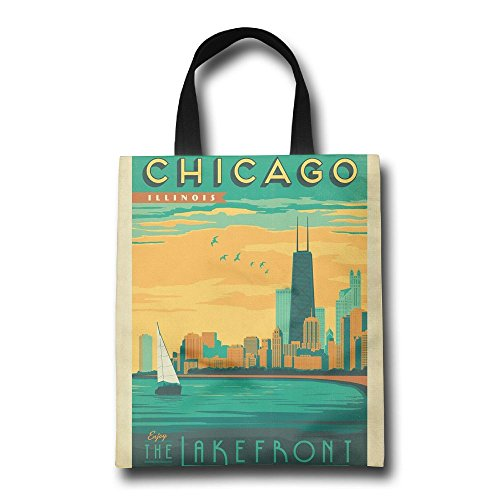 Vintage Chicago Lakefront Reusable Shopping Bag, For Farmers Markets, Grocery Shopping, Crafts, Travel, Sewing & Everyday - Chicago Michigan Shopping Avenue