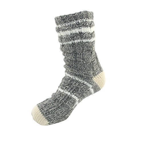 Extra Thick Soft Warm Cozy Fuzzy Thermal Cabin Fleece-lined Knitted Non-skid Crew Socks,Women XL (US 10-13),Thermal - Color 02a (Plus Size Lined Stockings)
