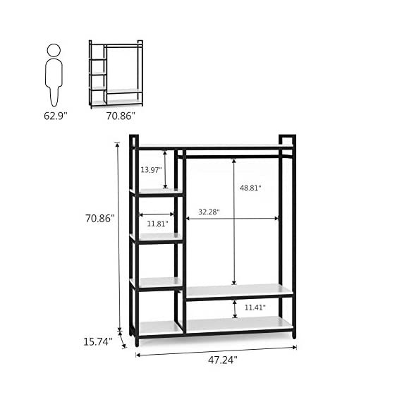 LITTLE TREE Free-Standing Closet Organizer,Heavy Duty Clothes Rack with 6 Shelves and Handing Bar, Large Closet Storage Stytem & Closet Garment Shelves,White - Incredible Weight Capacity : Heavy duty metal frame combine with thick particle board makes the it super stable and sturdy, no wobble and collapse. The Weight capacity is 350 lb. Ideal for being a long-term closet storage organizer. Large Storage Solution : 2 large shelves and 4 small ones ensure you plently of room to place clothes, accessries, shoes etc. The garment rods hold up 50 lb. For hanging your dress and suits. And put large box on the top for added storage. Freestanding & Portable Closet: The portable storage organizer perfect for clothes and shoes in cramped closets. Making small spaces more functional. Simple and chic design adds instant storage to any room. Easily transport your freestanding wardrobe. - hall-trees, entryway-furniture-decor, entryway-laundry-room - 41hJTAusUfL. SS570  -