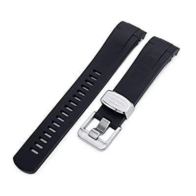 22mm Crafter Blue Rubber Watch Band, Color Black, Curved Lug for Tudor Black Bay M79230 from MiLTAT