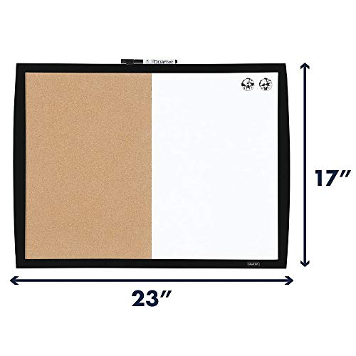 Quartet Combination Magnetic Whiteboard & Corkboard, 17 x 23 inches, Combo White Board & Cork Board, Curved Frame, Black (41723-BK)