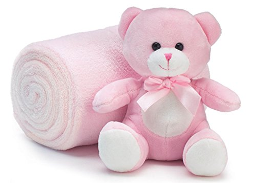 Teddy Bear 6 inch Sitting with Cozy Roll of Soft Fleece Nursery Blanket 38 x 28 inch - Pink