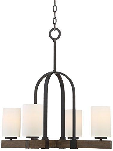 Keefe 24″ Wide Dark Bronze 4-Light Chandelier