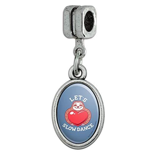 (GRAPHICS & MORE Let's Slow Dance Sloth Heart Love Funny Humor Italian European Style Bracelet Oval Charm Bead )