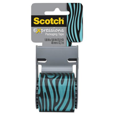 Expressions Packaging Tape, 1.88'''' x 500'''', Blue/Black Zebra Pattern, Sold as 1 Roll
