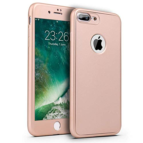 Sapphire Foil Gold - Mobile Phone Cases for iPhone 7 Plus iPhone 8 Plus Soft TPU 360 ° Cover (including protective foil) Cellphone case for iPhone 7P / 8P mobile phone case (color: Sapphire) (Color : Gold, Size : -)