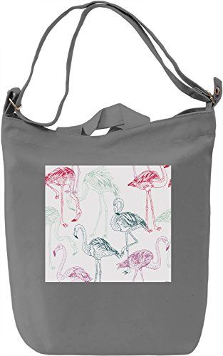 Flamingo Full Print Borsa Giornaliera Canvas Canvas Day Bag| 100% Premium Cotton Canvas| DTG Printing|