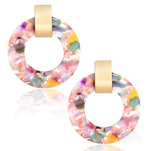 YEYA Acrylic Earrings for Women Statement Dangle Hoop Earrings Acetate Resin Round Disk Stud Earrings (Floral) - Floral Round Earrings