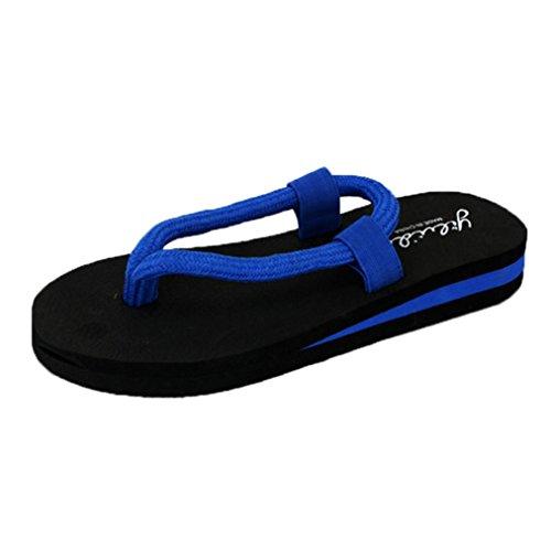 QinMM Ba Mujer de de Chanclas Para o Sandalias Azul Playa Verano hogar de Zapatos qvSZRq