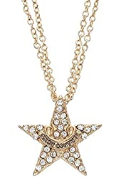 Juicy Couture Multistrand Star Pendant Necklace Gold Tone