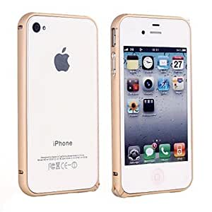JAJAY- Aluminum Metal Bumper Rounded Edges Monochrome Hippocampus Buckle Case for iPhone 4/4S (Assorted Colors) , Green