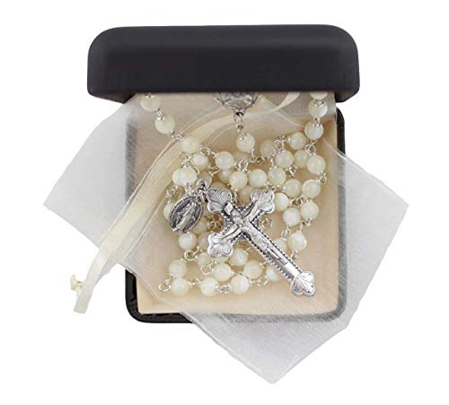 Bundle: Mother of Pearl 6mm Bead Rosary with Ivory Organza Bag in a Deluxe Rosary Box