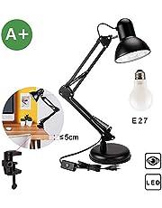 Flexo LED lampara de trabajo, lámpara de mesa Aglaia con base o abrazadera intercambiables entre si, brazo articulado, orientable y una bombilla de luz de LED de tamaño regular E27