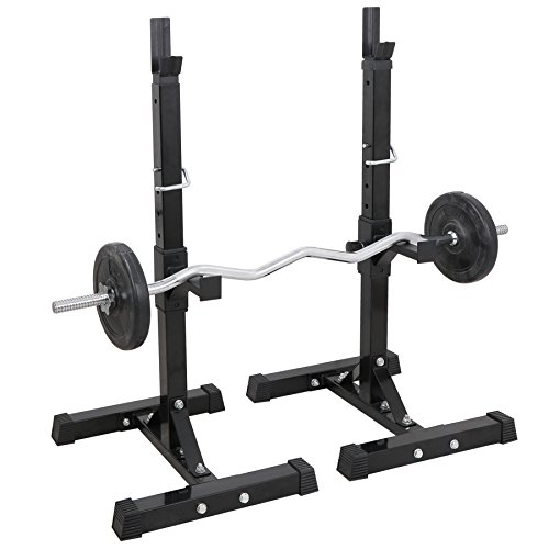 F2C Pair of Adjustable 41''-66'' Sturdy Steel Squat Rack Barbell Free Bench Press Stand Gym/Home Gym Portable Dumbbell Racks Stand Max 550lbs by F2C (Image #1)
