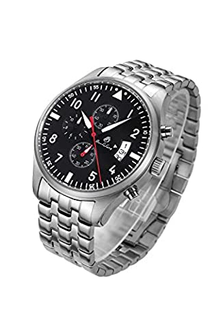 Men Synthetic Sapphire Chronograph Waterproof Date Stainless Steel Band Quartz Movement Watch - Chronograph Synthetic Sapphire