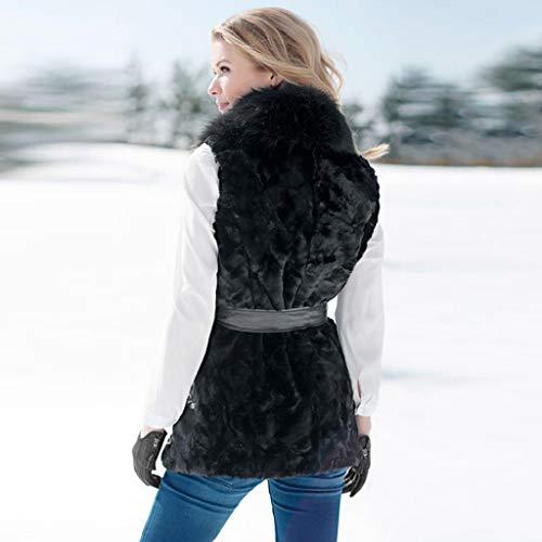 Coat Fausse Trydoit Noir Dames Outwear Veste Femmes Manches Fourrure Gilet sans Hiver Shrug Manteau qzz1wx5F
