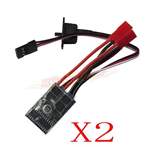 Hobbypower Rc 10a Brushed ESC Motor Speed Controller 1/16 18 24 Car Boat Tank W/o Brake(pack of 2 Pcs)