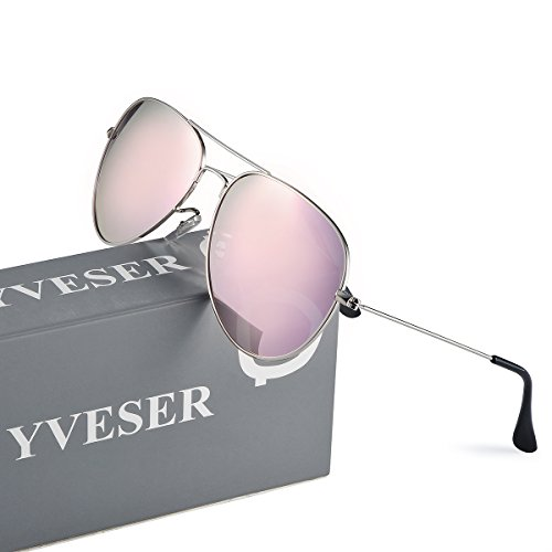 Yveser soleil pour Yv3025 Rose Cadre de Argenté Hommes Lunettes Femmes et Lentille polarisé rr1EI4xq