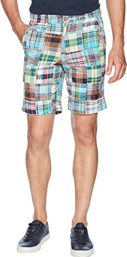 Front Madras Plain Short - Vintage 1946 Men's Acid Washed Patch Madras Shorts Green 36 9