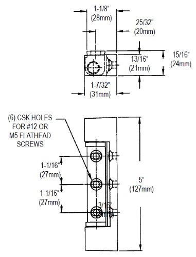 Component Hardware R42-2842 Edgemount Hinge, Non-Rise, St