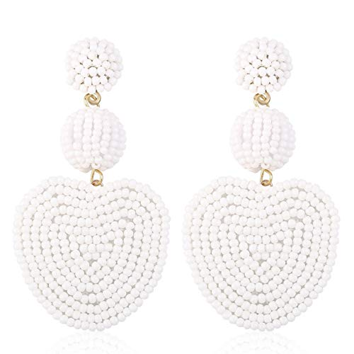 Statement Beaded Drop Earrings for Women Girls Handmade Bohemian Heart Round Dangle Dangly Lightweight Fashion Daily Studs Ear Jewelry Accessory Gift for Mum Wife with Gushion Present Box GUE145 White ()