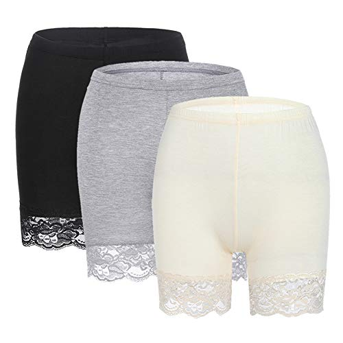 Slip Shorts for Women Short Leggings Mid Thigh Legging Plus Size Lace Undershorts 3 Pack Black/Gray/Beige Large