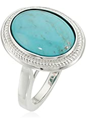 Sterling Silver Oval Genuine Stabilized Turquoise Ring, Size 7