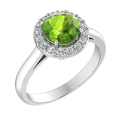 Belinda Jewelz Womens 925 Sterling Silver Classic Solitaire Halo Center 7 mm Round Gemstone Birthstone Fine Jewelry Engagement Wedding Accessory Rings, 1.06 Carat Peridot Green, Size 6