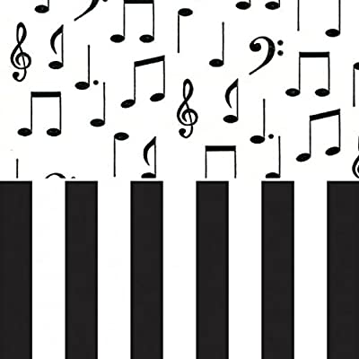 Music Notes + Black & White Striped Printed Tissue Paper Bundle for Gift Wrapping, 24 Sheets