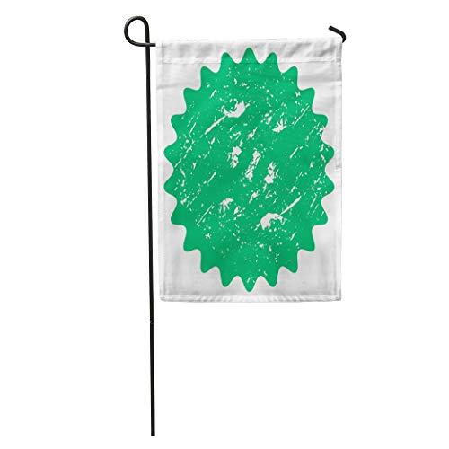 (Semtomn Garden Flag Green Badge Label Simple Retro Flat Vintage Abstract Starburst Sunburst Home Yard House Decor Barnner Outdoor Stand 28x40 Inches Flag)
