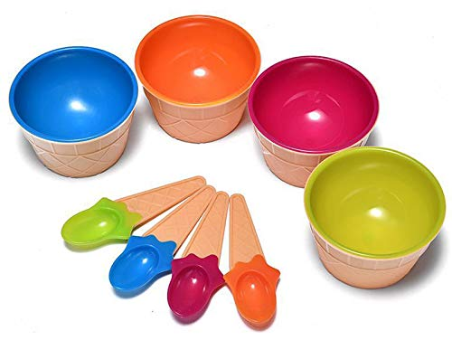 Dessert Bowls, 4 Pack Ice Cream Bowl Spoon Set,Frozen Yogurt Cups with Spoons Durable Plastic Candy Color Lovely Dessert Bowl DIY Ice Cream Tools For Festive Party Favor Kids Gift