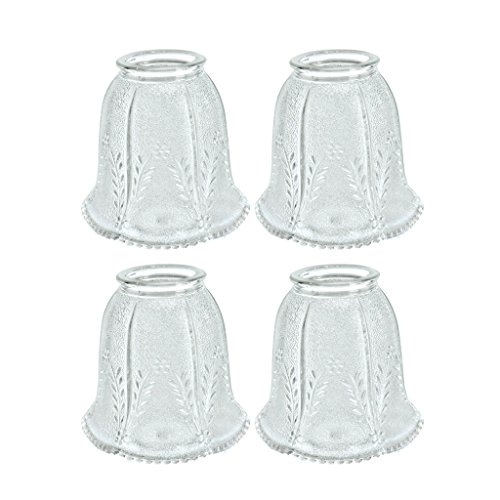 Aspen Creative 23007-4 2-1/4'' Fitter Size 4-1/4'' high x 4-1/8'' Diameter Transitional Style Replacement Bell Shaped Clear Glass Shade with Floral Pattern (4 Pack) by Aspen Creative (Image #2)