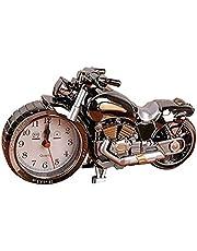 ساعة منبه للمكتب بتصميم دراجة نارية بحركة كوارتز وعرض انالوج - من الفولاذ