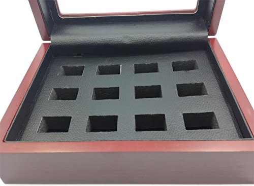 TuoYu 1-12 Holes Championship Rings Trophy Jewelry Display Cases Wooden Boxes (12 Holes)