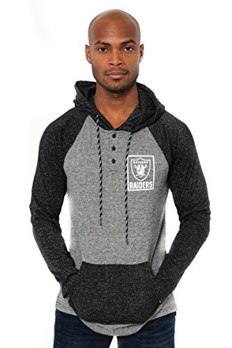 Raiders Pullover Oakland - Icer Brands NFL Oakland Raiders Men's Fleece Hoodie Pullover Sweatshirt Henley, X-Large, Black