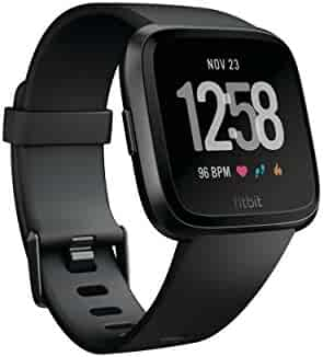 Fitbit Versa Smartwatch, Black/Black Aluminium, One Size (S & L Bands Included)